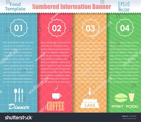Numbered Information Food Template Banner Vintage Stock Vector 103533968 Shutterstock Food Banner Design Template Free