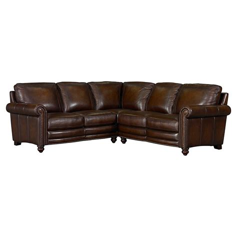 sofa leather sectional hamilton leather sectional sofa by bassett furniture