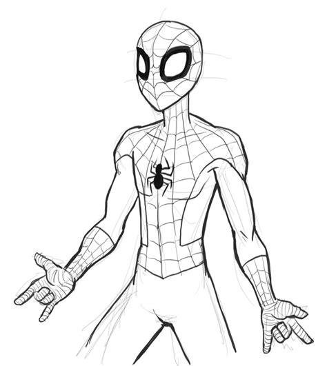 simple spiderman coloring page drawing of spider man az coloring pages