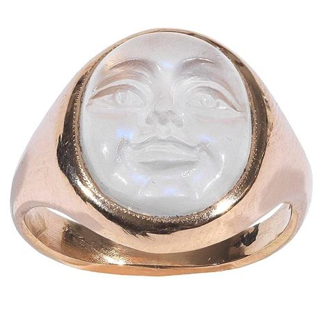 Carved Moonstone Man in the Moon Ring at 1stdibs