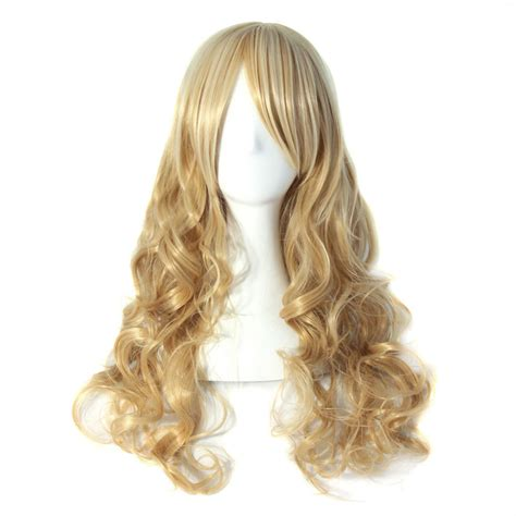wig grips for women that have hair blonde light brown two tunes long wavy costume wig hair
