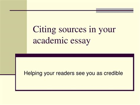 Citing Sources In Essays by Ppt Citing Sources In Your Academic Essay Powerpoint