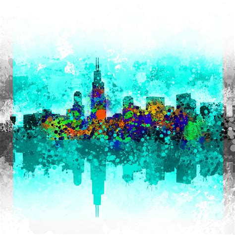 Home Decor Indianapolis chicago skyline abstract painting by bekim art