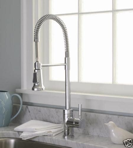industrial style chrome pull kitchen sink faucet