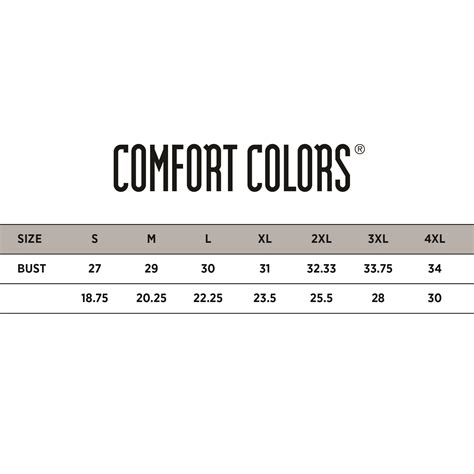 comfort colors size chart comfort colors sizing 28 images sizing charts