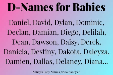 d names d names for babies nancy s baby names