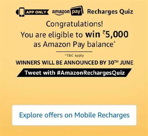 amazon quiz winner all answers amazon recharges quiz win rs 5000 amazon