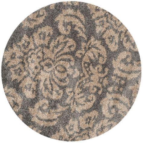 4 foot area rugs safavieh florida shag gray beige 4 ft x 4 ft area rug sg460 8013 4r the home depot