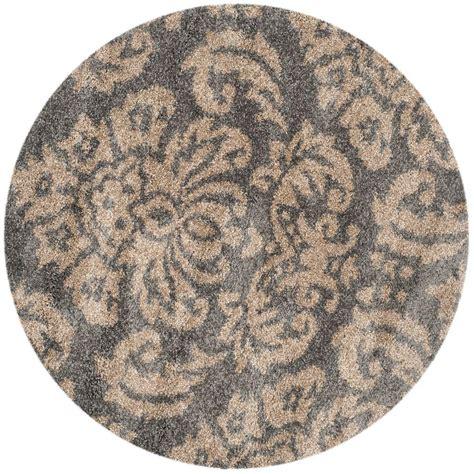 4 ft rug safavieh florida shag gray beige 4 ft x 4 ft area rug sg460 8013 4r the home depot