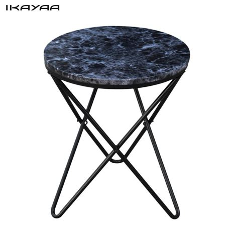 furniture black marble metal round directoire accent ikayaa modern round end living room table metal sofa couch