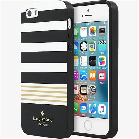 Iphone 5 5s Se Lacoste Black Stripe Hardcase kate spade new york hardshell for iphone 5 5s se stripe 2 black white gold foil