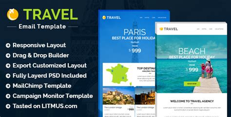 Travel Hotel E Newsletter Builder Access By Theemon Themeforest Hotel Email Template
