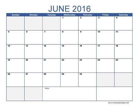 Calendar Templates 2016 June 2016 Calendar Template Monthly Calendar 2016 Pdf