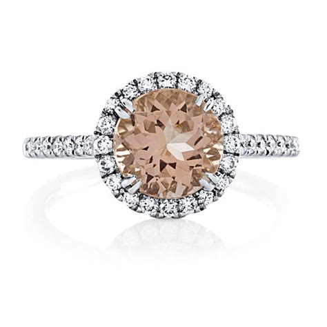 morganite engagement ring 14kt white gold 2 44tw 8mm