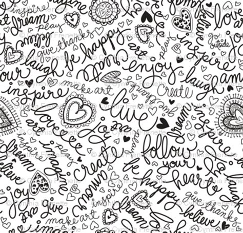 doodle words doodle words fabric cynthiafrenette spoonflower