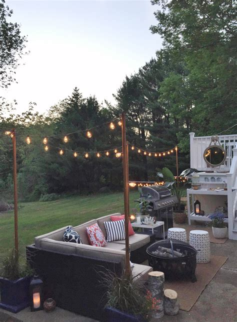 Outdoor String Light Pole Diy Outdoor Light Poles City Farmhouse