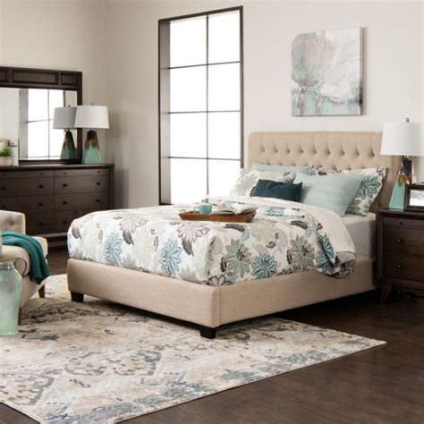 tan upholstered headboard chloe fabric upholstered bed queen bed in tan linen