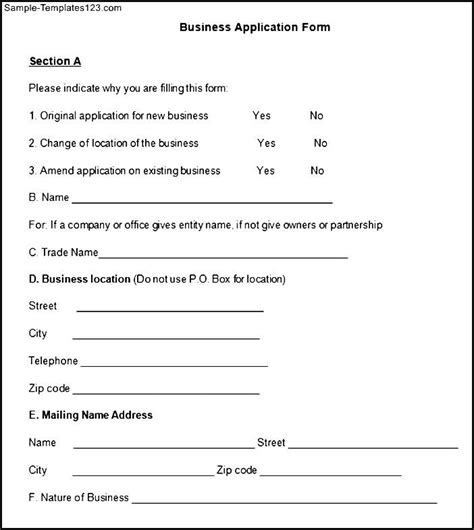 business application form sle business application form sle templates