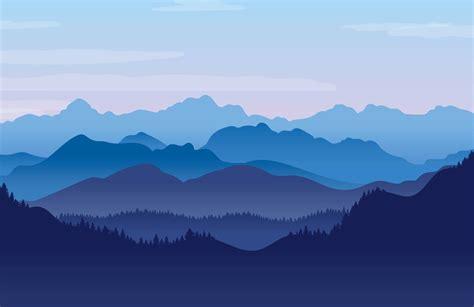 blue illustrated landscape wallpaper mural muralswallpaper