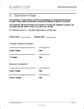 Service Level Agreement Template Download 2 Ms Word 3 Free Excel Contract Signature Template