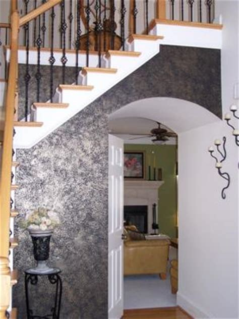 Interior Metal Paint by Black Metallic Accent Wall In The Foyer
