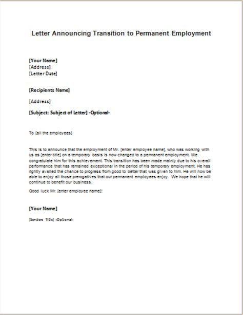 Letter Format For Contract To Permanent Employment Permanent Employment Announcement Letter Writeletter2