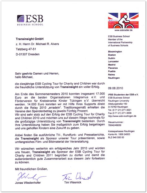 sponsorship letter for a charity event transinsight gmbh transinsight sponsoring