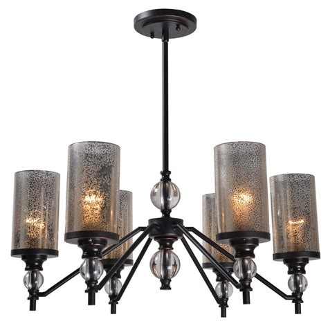 Bronze Chandelier With Shades Kenroy Home 6 Light Bronze Chandelier With Mercury Glass Shade 93446orb The Home Depot