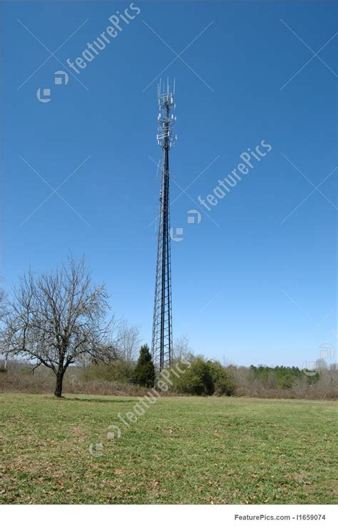 communication technology cell tower stock image