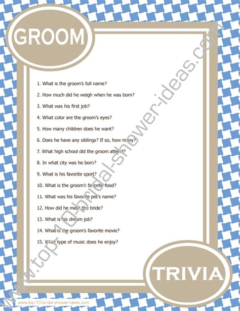 bridal shower questions for the and groom groom trivia a printable bridal shower you can print right from home bridalshowergames