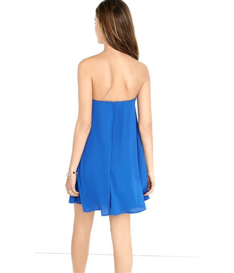 Blue Strapless Fashion Dress 21418 lyst express strapless trapeze dress in blue