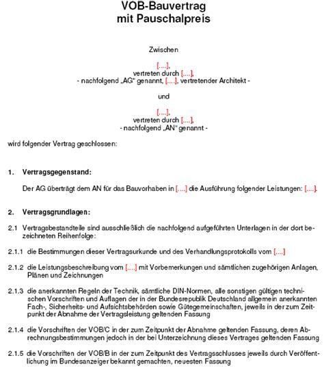 Nachtragsangebot Muster Vob Bauvertrag Mit Pauschalpreis Sofort
