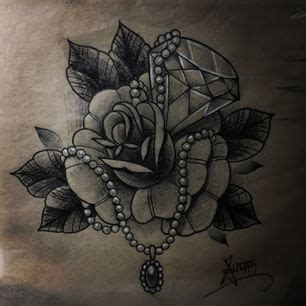 rose diamond tattoo designs rose pearls and diamonds google search tattoos