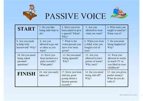 let s teach english passive voice board game passie voice boardgame worksheet free esl printable