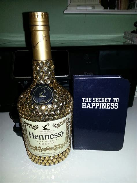bedazzled hennessy liquor bottle glitter and rhinestones