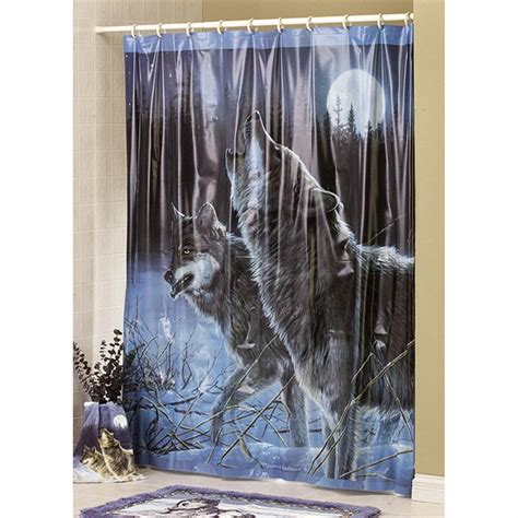 Hautman 174 Quot Howling Wolves Quot Shower Curtain 77354 Bath At