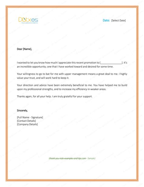 Thank You Letter For Promotion Thank You Letter To 8 Plus Best Sles And Templates