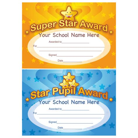 printable gold star award star award certificate school stickers for teachers