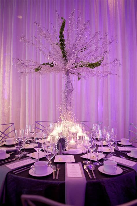 wedding reception table centerpieces without flowers glamourous wedding reception table high non floral centerpiece