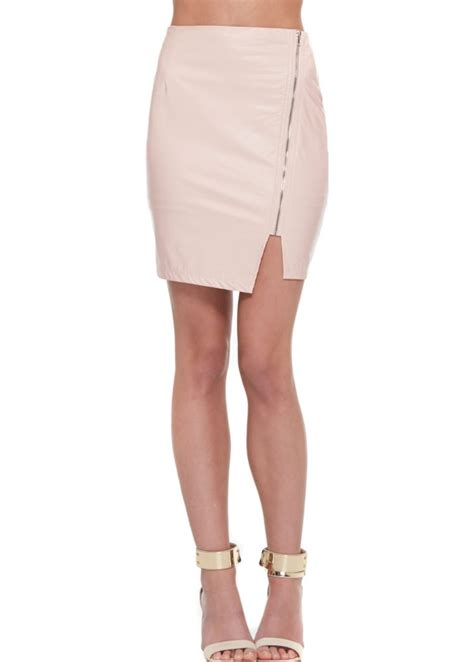 pink leather mini skirt with side zip mini skirts