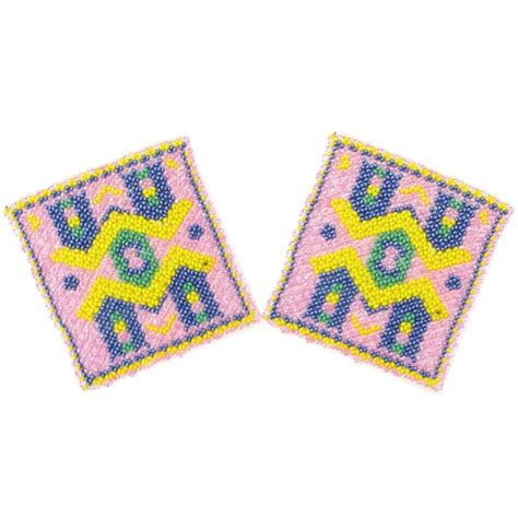 beadwork pink pink blue bridge beadwork beaded coaster 2 pc