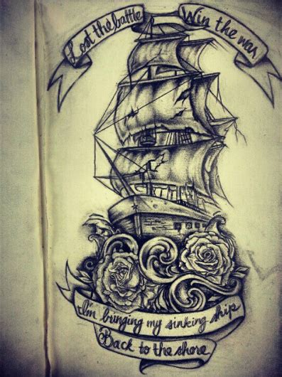 ship and rose tattoo and ship