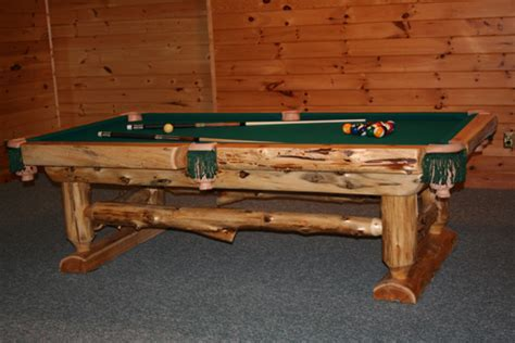 Log Pool Table ? Barn Wood Furniture   Rustic Barnwood and