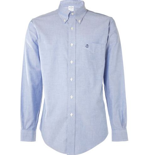 Button Collar Oxford Shirt brothers button collar oxford shirt in blue
