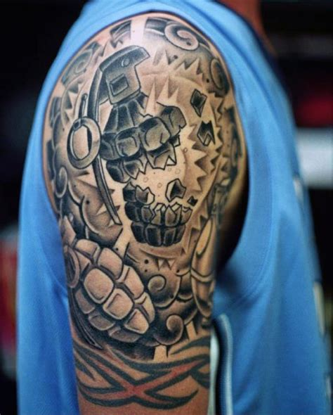 upper arm sleeve tattoos for men 50 grenade designs for explosive ink ideas