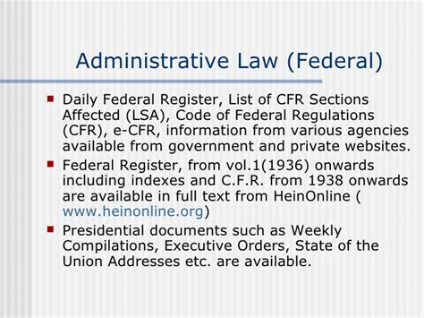 list of cfr sections affected internet legal research