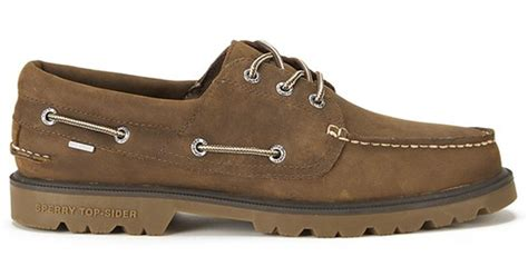 sperry mens leather boat shoes sperry top sider men s a o lug 3 eye waterproof leather