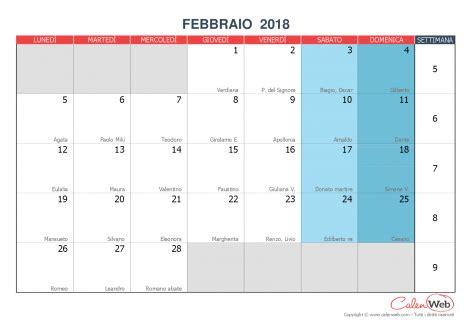 Calendario 2018 Febbraio Calendario Mensile Mese Di Febbraio 2018 Con Le