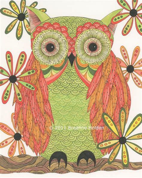 Gw Se F Green Owl whimsical owl ugglor ugglor och inspiration