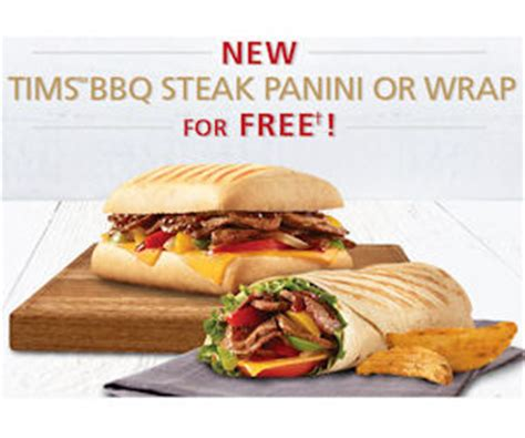 Tim Hortons Sweepstakes - free tim hortons bbq steak panini or wrap check emails free product sles